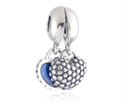MOTHER/SON Love Heart Dangle Auth Solid Sterling Silver Charm Bead for Bracelet
