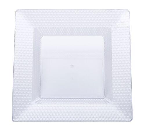 30 x 10.5 pouces clear square qualité diamant design plastique assiettes
