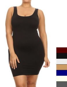 Details about Womens Plus Cami Bodycon Slip Tank Top Mini Dress Liner One  Size Fit (1X,2X,3X)