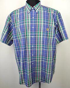 RALPH-LAUREN-Polo-Men-039-s-XL-100-Cotton-Shirt-Plaid-Checked-Short-Sleeved-Western