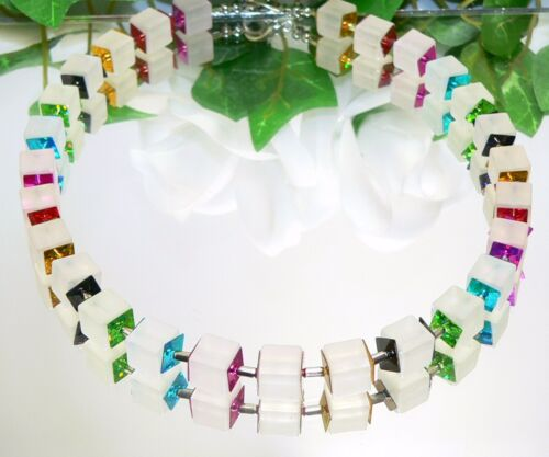 Bezaubernde Kette Würfelkette weiss matt Hologramm glitzer bunt mehrfarbig  490i