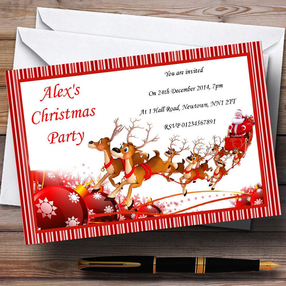 Candy stripe SANTA Noël SLEIGH invitations personnalisées fête de Noël SANTA a95589