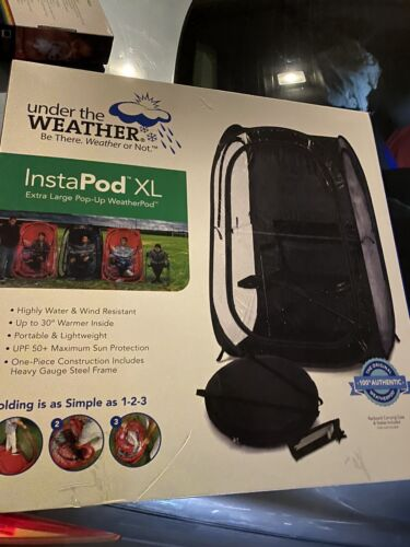 XL OVERNIGHT DELIVER Blk Under the Weather InstaPod Stay Warm /&Dry Weather Pod