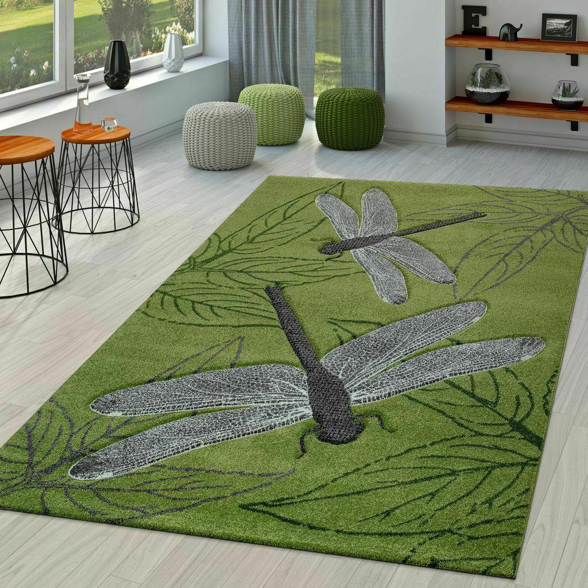 Tappeto moderno salotto cucina camera da letto per bambini Tappeto Dragonfly modello Tappetino verde