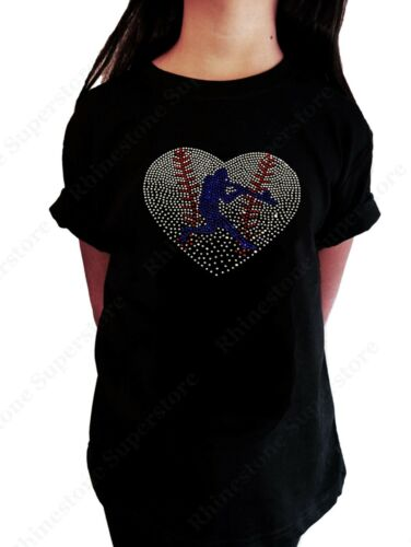 """Girls Rhinestone T-Shirt /"""" Baseball Heart with Batter /"""" in Size 3-14 Available"""