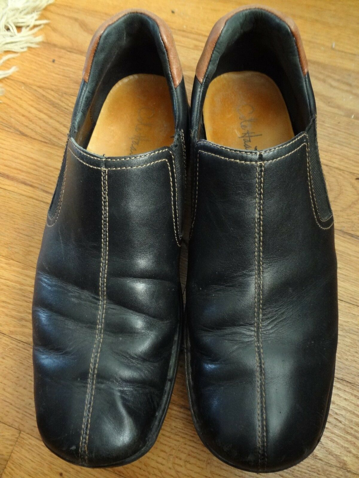 Mens Brown Cole Haan 10.5M Dark Brown Mens Leather Slip On Loafers cb15a9