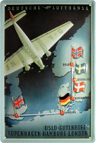 Deutsche Lufthansa geprägtes Nostalgie Reklame Blechschild 20 x 30 cm Blech 224