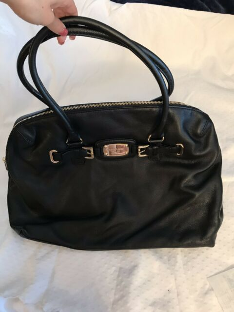 fe2ccf59cd3a79 Authentic Michael Kors Hamilton Weekender Black Leather Tote Duffle NWT $448
