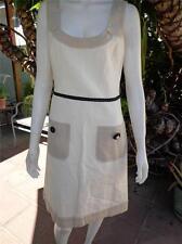 MOSCHINO Cheap and chic Sleeveless Summer Dress Ivory Linen Blend Size 8