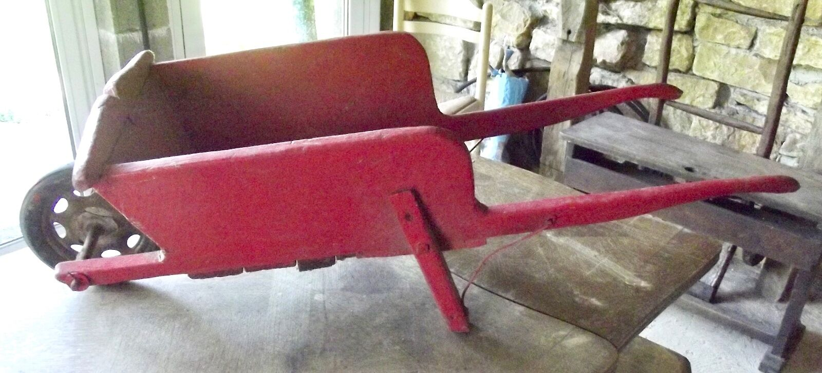 Antik Schubkarre Holz Rot Kind 1930 Vintage Reifen Michelin Voll Hof