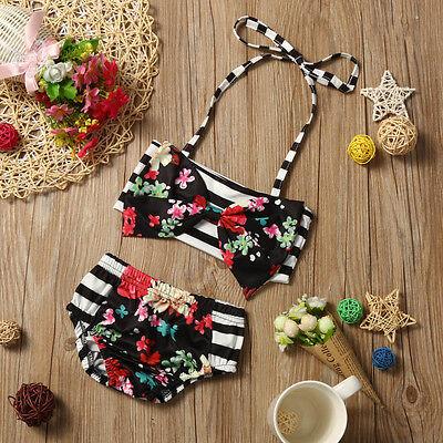 Toddler Baby Kids Girls Floral Swimsuit Swimwear Bathing Suit Bikini Set Clothes