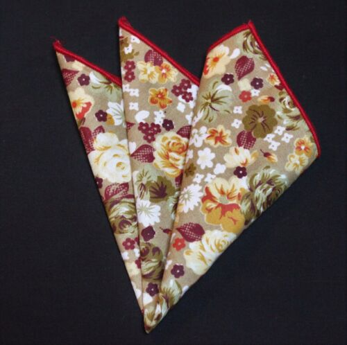 Hankie Pocket Square Cotton Handkerchief Light Gold with Floral CH079