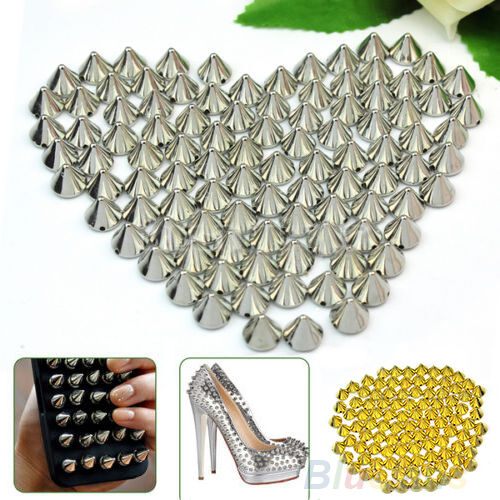 100 PCS LOTS RIVETS STUDS SPIKES BEADS LEATHERCRAFT DIY CLOTHES ACCESSORIES