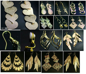 Gold-Tone-Fashion-Earrings-Costume-Jewellery-Pierced-or-Clip-On-13-Designs