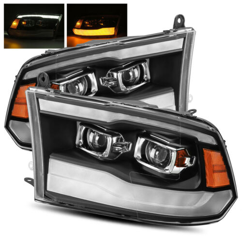 For 09-18 Ram 1500//10-18 2500//3500 Black DRL//LED Tube Dual Projector Headlights
