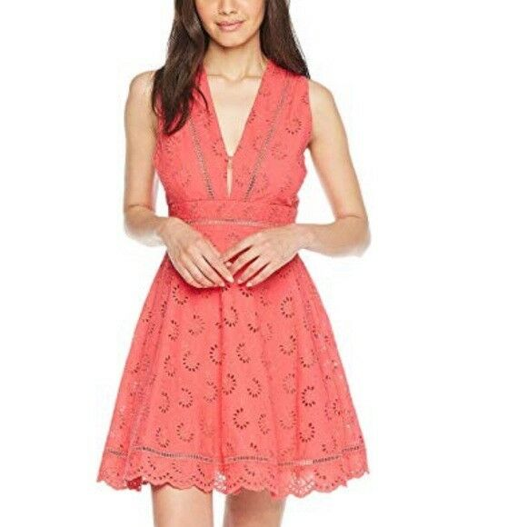 BB Dakota Vianne Eyelet Dress Coral Rosa Glow 12 New Fit and Flare
