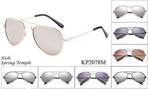 Kids-Aviator-Sunglasses-Retro-Classic-Spring-Hinged-Fashion-Girls-Boys-UV-100