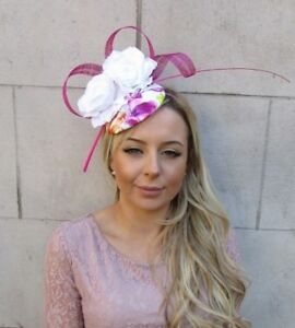 White Hot Pink Floral Print Rose Flower Feather Pillbox Hat Hair