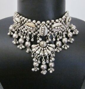Shell-Collar-Necklace-Choker-Statement-Boho-Gypsy-Gothic-Punk-Kuchi-Tribal-Style