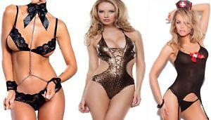 LINGERIE-SEXY-WOMEN-BABYDOLL-COMPLETO-SENSUALE-DONNA-LOVE-BIANCHERIA-INTIMA