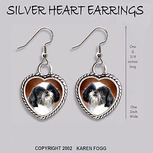 Japanese Chin Shih Tzu Dog Heart Earrings Ornate Tibetan Silver