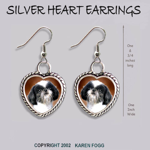 JAPANESE CHIN SHIH TZU DOG HEART EARRINGS Ornate Tibetan Silver