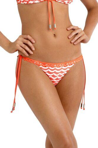 Seafolly Bikini Tidal Wave Nectarine Triangle Slide Halter Top /& Brazilian Pant