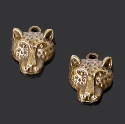 5pcs-Leopard head charm brass tone Panther head charm,animal charm