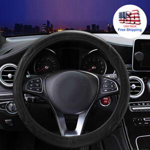 Car Accessories Steering Wheel Cover Black Leather Anti-slip 15''/38cm Universal