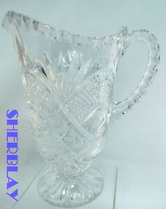 STUNNING-Vintage-Clear-Glass-Crystal-Large-Heavy-Water-Drink-Pitcher-8-75-034-x-5-034
