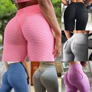 UK Womens Butt Lift Yoga Pants High Waist Gym Strecth Leggings Scrunch Trousers