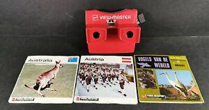 GAF-Bianco-e-Rosso-VIEW-MASTER-CON-BOBINE-Australia-Austria-e-uccellini-Bundle