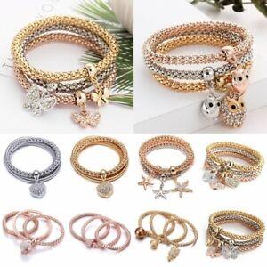 3pcs-Animal-Heart-Crown-Crystal-Women-Handmade-Wristband-Bracelet-Bangle-Charm