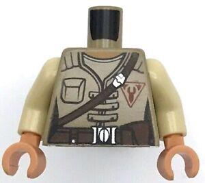 Lego New White Minifig Torso Pajamas Top with Light Flesh Neck Tan Buttons