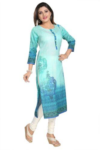 UK STOCK Women Fashion Indian Kurti Tunic Kurta Top Shirt Dress SC1106 SeaGreen