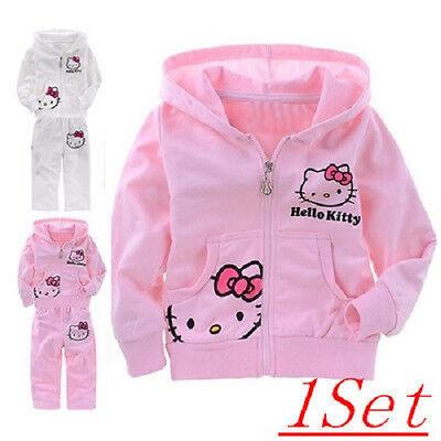 Hello Kitty Girls Set  Cotton Long Sleeve Spring Fall Cartoon Pink/White 2T-6