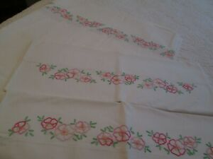 Penny-039-s-Pencale-Double-Bed-Sheet-Embroidery-Flowers-2-Cases-Pink-81-039-x-108-034