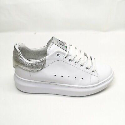 "Sneakers ML Donna Simile ""Alexander Mcqueen"" BiancoArgento Vera pelle Casual | eBay"