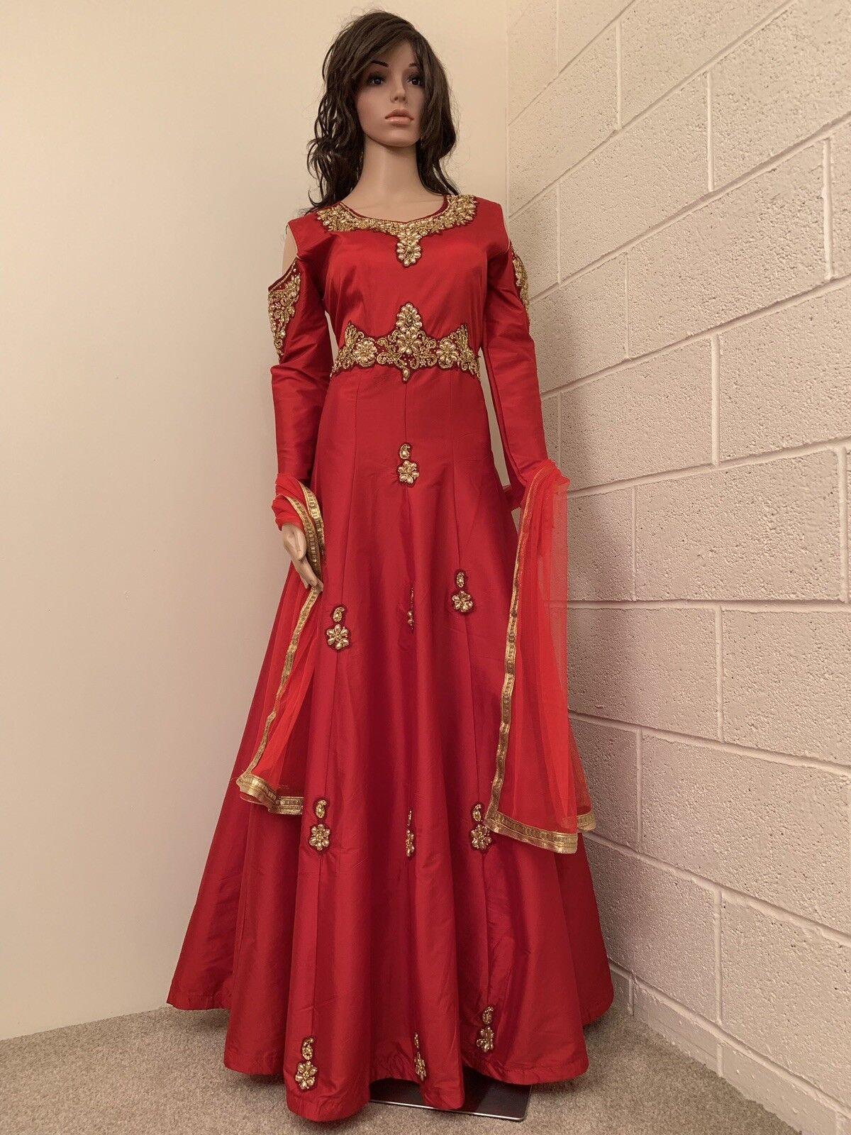 Vendeur Britannique  Indien, Pakistani, designers Heavy Anarkali Suit. UK Taille - 10 (Poitrine - 38)
