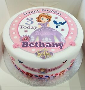 Amazing Decorations Cake Toppers Sofia The First Edible Round Birthday Personalised Birthday Cards Cominlily Jamesorg