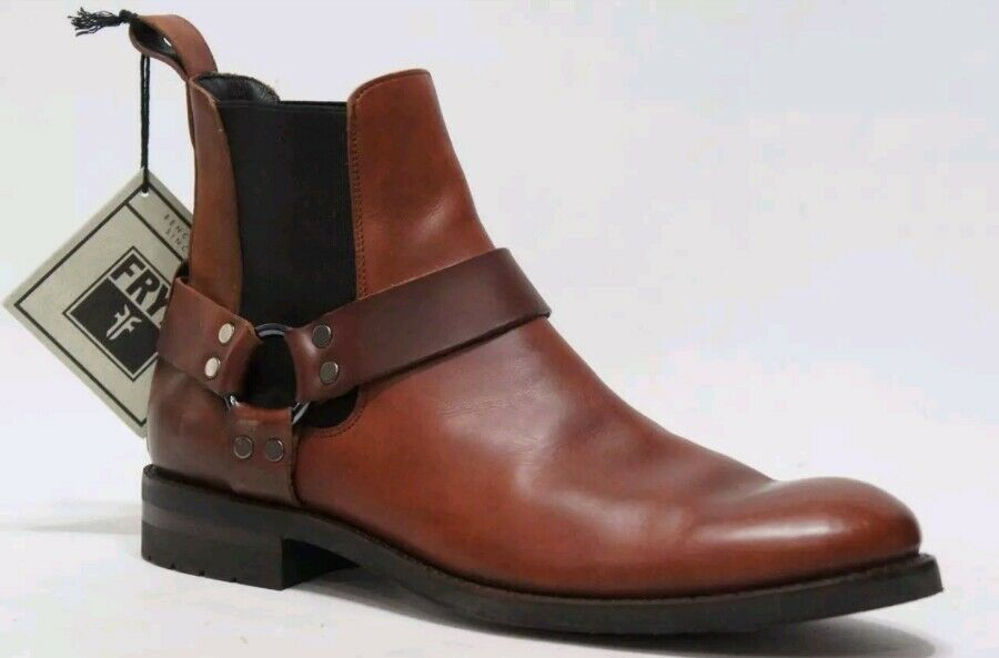 FRYE CHELSEA Stone Harness Whiskey Brown Pelle Uomo's 11   Casual Ankle Stivali