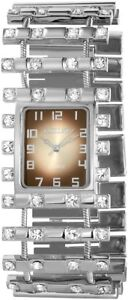 Excellanc-Damenuhr-Braun-Silber-Strass-Analog-Metall-Armbanduhr-X152027000038