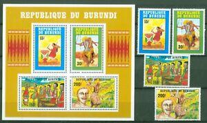 Burundi-1992-Tanz-Trachten-Musik-Traditionelle-Taenze-1730-33-A-Block-131-C