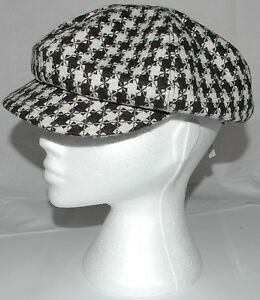 Ladies-Flat-Cap-Retro-Hat-Ultra-Trendy-One-Size-Dark-Brown-Cream-Checked-A003-22