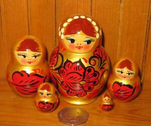 GOLD-Matryoshka-RED-BLACK-Flowers-Khokhloma-Russian-Nesting-Dolls-Small-5-signed