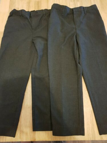 School Trousers Age 6 Hook And Zip Grey x2