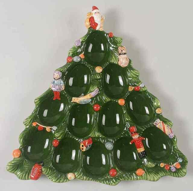 Spode Christmas Tree History: Spode Christmas Tree Green Trim Tree Deviled Egg Plate