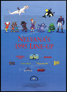 NELVANA-1995-Line-Up-Orig-Trade-AD-promo-poster-Magic-School-Bus-Eek-The-Cat