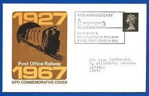 Railway-Postal-Cover-1927-1967-Post-Office-Underground-Railway-GPO-6-Dec-1967