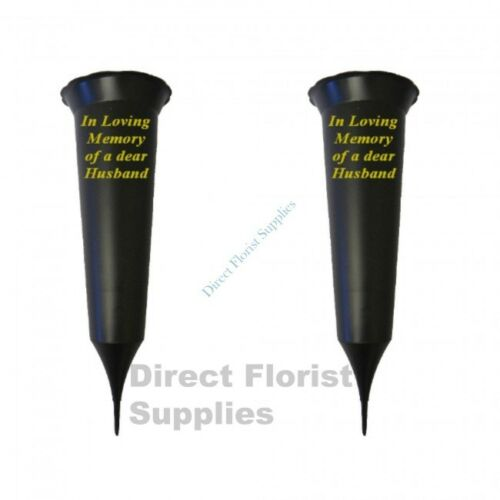 2 X Husband In Loving Memory British Made Black Grave Flower Vase Funeral Spike